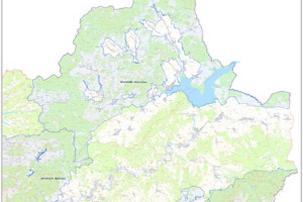 Mapa s vyznačenými hranicami vtáčích území.