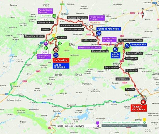 Mapa 9. etapy pretekov Vuelta 2018.