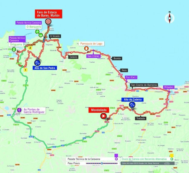 Mapa 12. etapy pretekov Vuelta 2018.