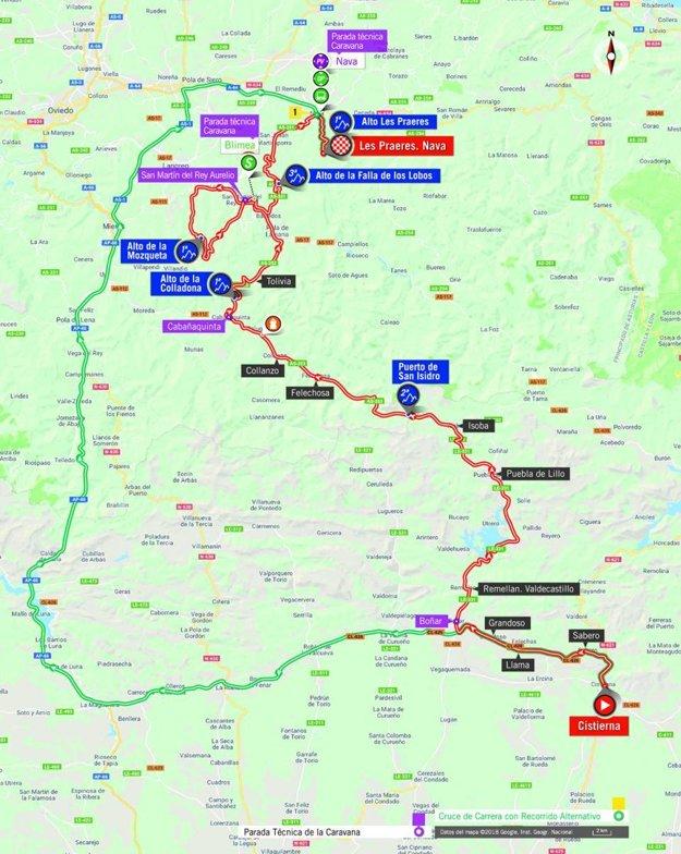 Mapa 14. etapy pretekov Vuelta 2018. (zdroj: lavuelta.es)