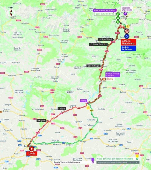 Mapa 19. etapy pretekov Vuelta 2018. (zdroj: lavuelta.es)