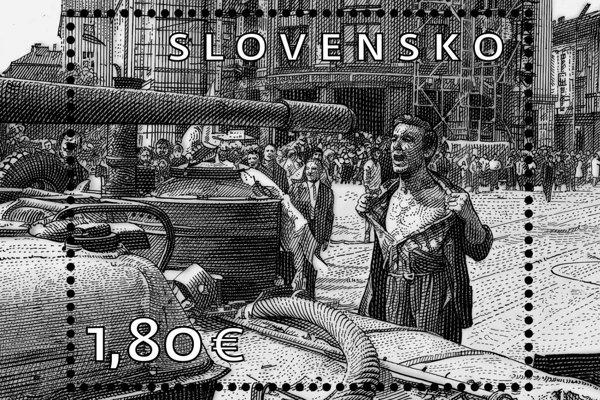 Výročná známka na motívy Bielikovej fotografie.