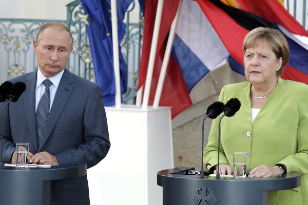 Ruský prezident Vladimir Putin a nemecká kancelárka Angela Merkelová.
