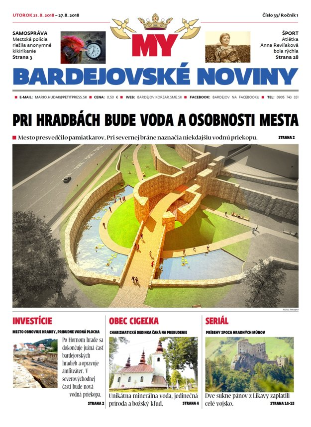 Titulka tohtotýždňových bardejovských novín.
