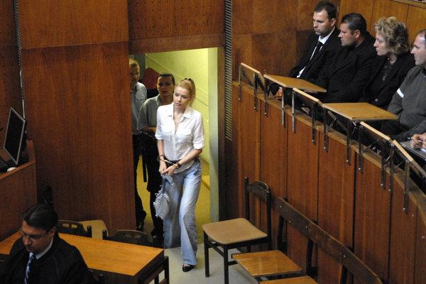 Proces sa začal 27. augusta 2013. Eva Varholíková Rezešová prvýkrát vstupuje v putách do pojednávacej miestnosti (vpravo hore na snímke pozostalí po obetiach havárie).