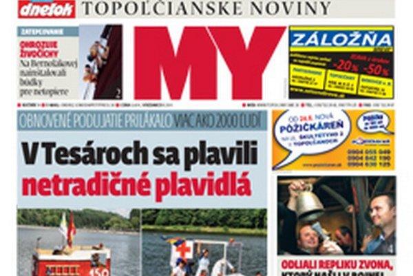 MY Topoľčianske noviny Dnešok vyšli utorok.