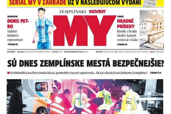 Titulná strana týždenníka MY Zemplínske noviny č. 35/2018.