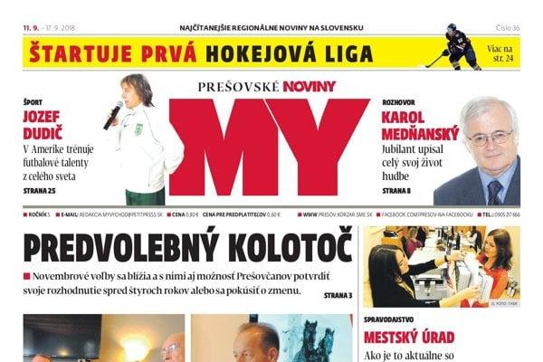 Titulná strana týždenníka MY Prešovské noviny č. 36/2018.