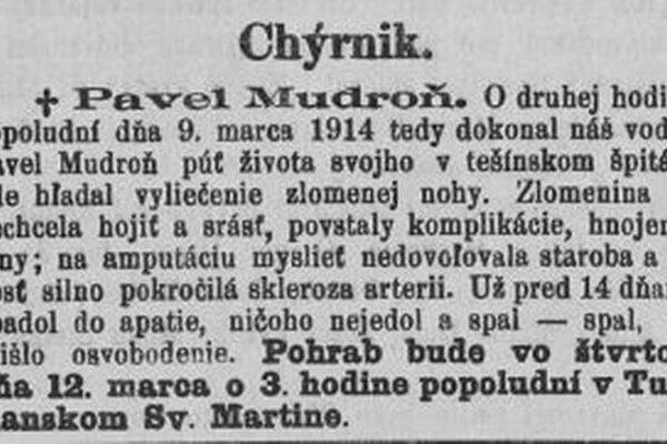 Takto písali noviny z roku 1914 o smrti Pavla Mudroňa.