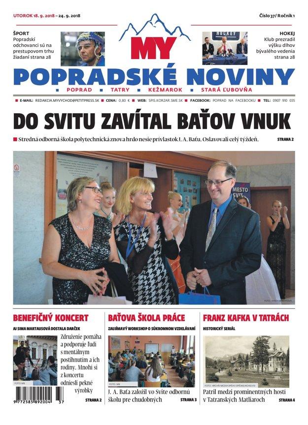 Titulná strana týždenníka MY Popradské noviny č. 37/2018.