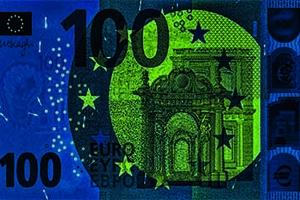 Smaragdové číslo je súčasťou všetkých ostatných bankoviek série Európa, no v tejto zdokonalenej verzii sa vo vnútri čísla zobrazujú aj znaky €.
