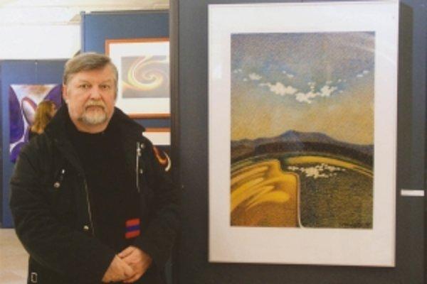 Jozef Porubčin a jeden z jeho malolednických motívov z výstavy západnom krídle  Bratislavského hradu.