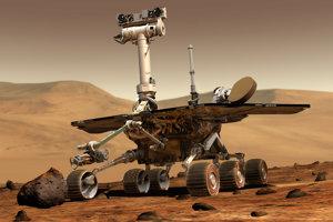 Vizualizácia roveru Opportunity na povrchu Marsu.