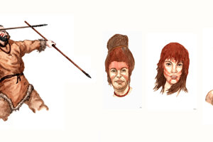 Praveký lovec a ženy s rituálnym maľovaním v predstave Antona Arpáša.