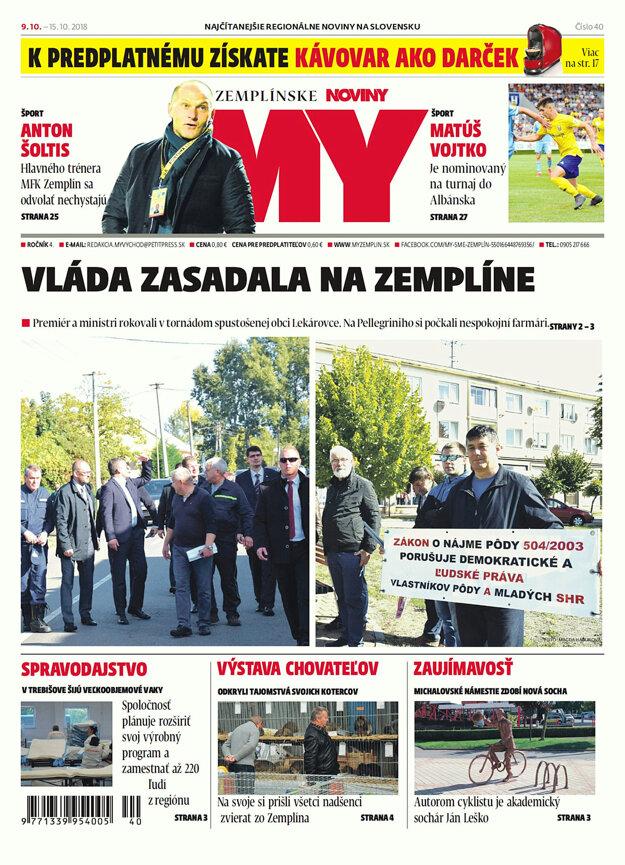 Titulná strana týždenníka MY Zemplínske noviny č.40