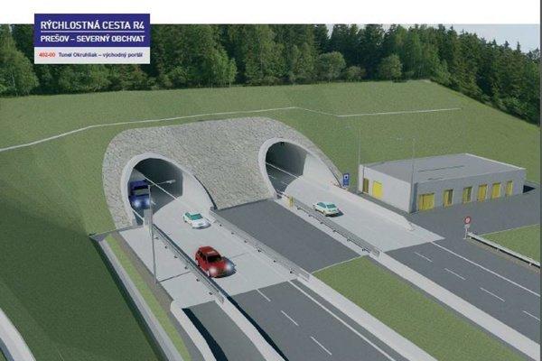 Rýchlostná cesta R4 Prešov – severný obchvat. Tunel Okruhliak (východný portál).