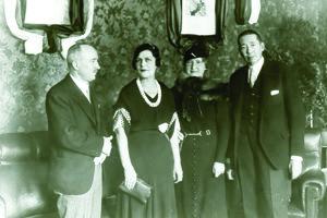 Stretnutie ministra zahraničia Československa Edvarda Beneša a Rumunska Nicolaea Titulesca s manželkami v hoteli Schalkház 11.12.1933.