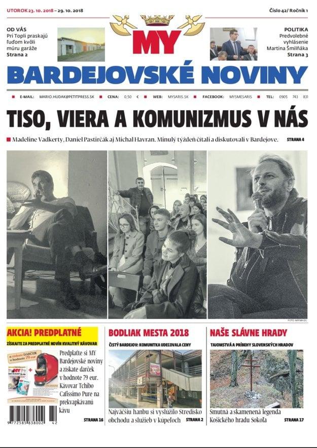 Titulka týždenníka MY Bardejovské noviny č. 42