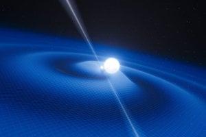 Umelecké stvárnenie binárneho systému s pulzarom (menší objekt) a bielym trpaslíkom.