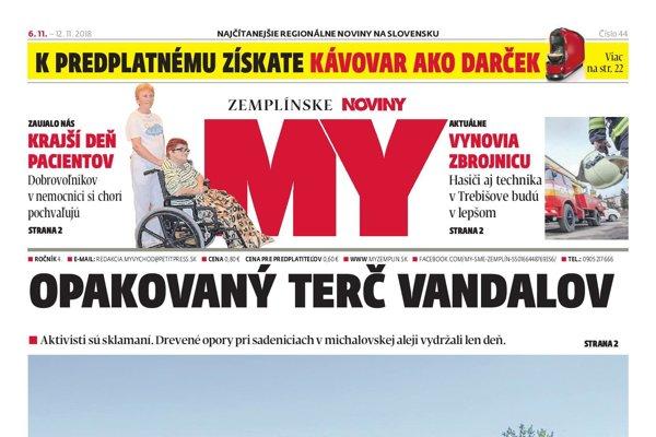 Titulná strana týždenníka MY Zemplínske noviny (č.44/2018)