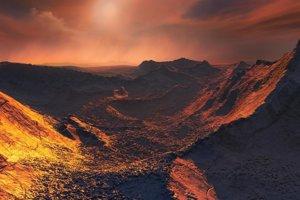 Umelecké zobrazenie povrchu novoobjavenej planéty pri Barnardovej hviezde.