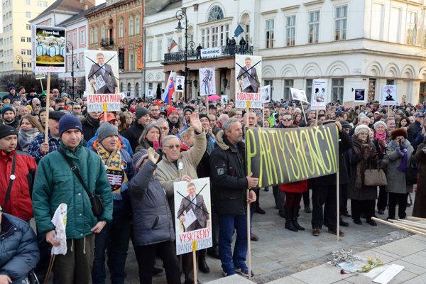 Momentka z jedného z predošlých košických protestov.