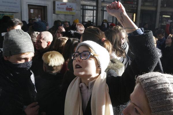 Pochod za práva sexuálnych menšín v Kyjeve.