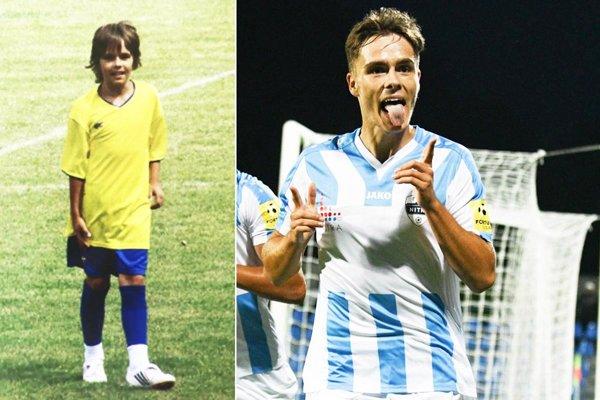 Vľavo snímka z roku 2008, keď Andrej Fábry hral za žiakov Zbehov. V tejto sezóne Aďo strelil v lige 4 góly a pridal 6 asistencií.