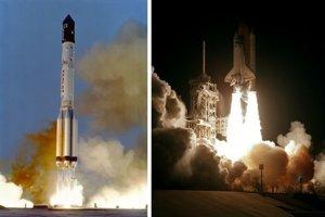 Vľavo: Štart prvého modulu ISS na nosnej rakete Proton. Vpravo: Štart raketoplánu Endeavour z Kennedyho vesmírneho strediska, ktorý vyniesol prvý prechodový modul Unity.