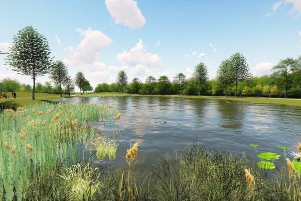 Štrky sa zmenia na oddychovú zónu s jazerom.