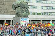 Demonštrácia v nemeckom Chemnitzi.