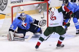 Momentka zo zápasu HC Slovan Bratislava - Ak Bars Kazaň.
