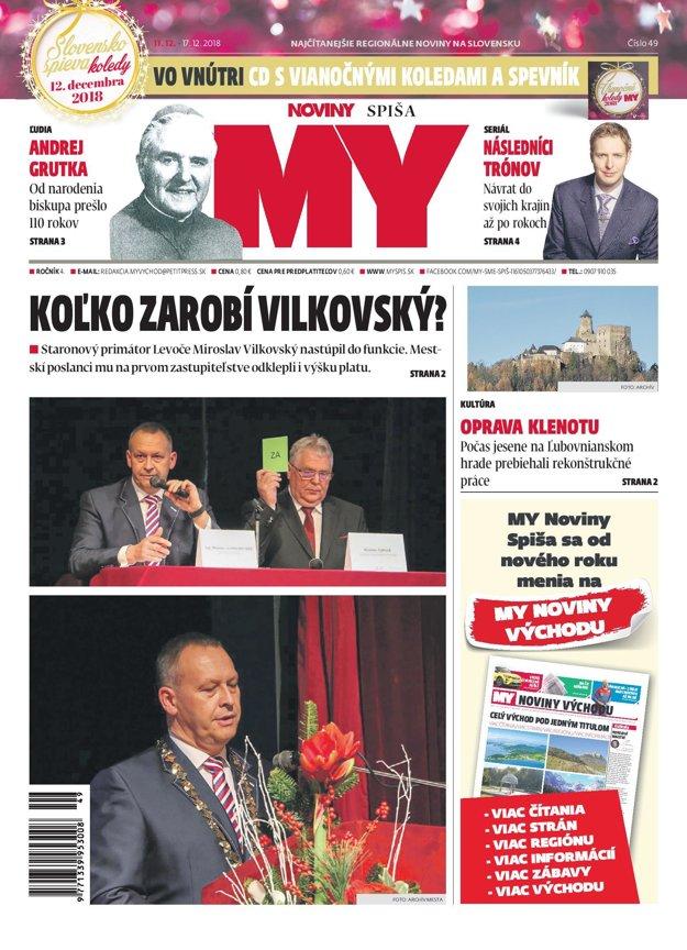 Titulná strana týždenníka MY Noviny Spiša 49/2019.