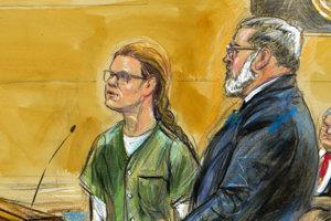 Skica zachytávajúca proces na federálnom súde. Po boku Marie Butinovej stojí jej právnik Robert Driscoll.