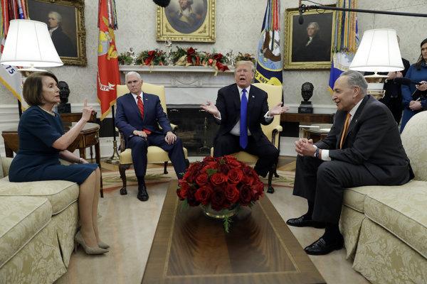 Trump sa s lídrami demokratov v Kongrese stretol už pred mesiacom, stretnutie sa skončilo hádkou.