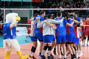 Radosť Slovenska po vyhratom zápase C-skupiny kvalifikácie ME 2019 mužov vo volejbale Slovensko - Čierna Hora 5. januára 2019 v Nitre.