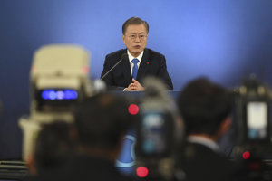Juhokórejský prezident Mun Če-in.
