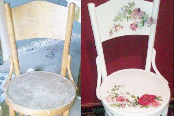 Vľavo je stolička, ktorú Alexandra zrenovovala, nafarbila na bielo a ozdobila servítkovou technikou. K tomu stolík a skrinku a  výsledkom je originálny set.