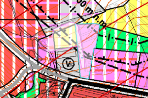 Územný plán - žltá farba znamená funkciu šport a rekreácia, fialová občiansku vybavenosť.