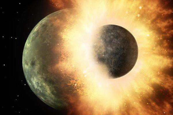 Umelecká predstava o zrážke dvoch planét.