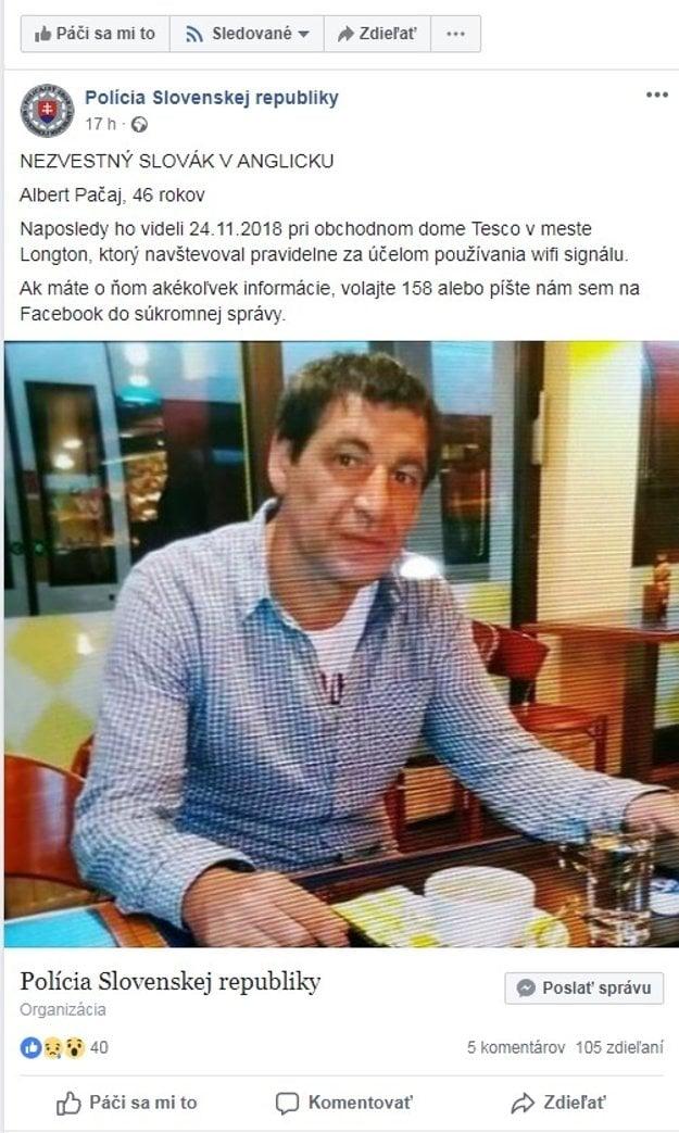 Výzvu na pomoc pri pátrání po nezvestnom Slovákovi v Anglicku zverejnila polícia na facebooku.