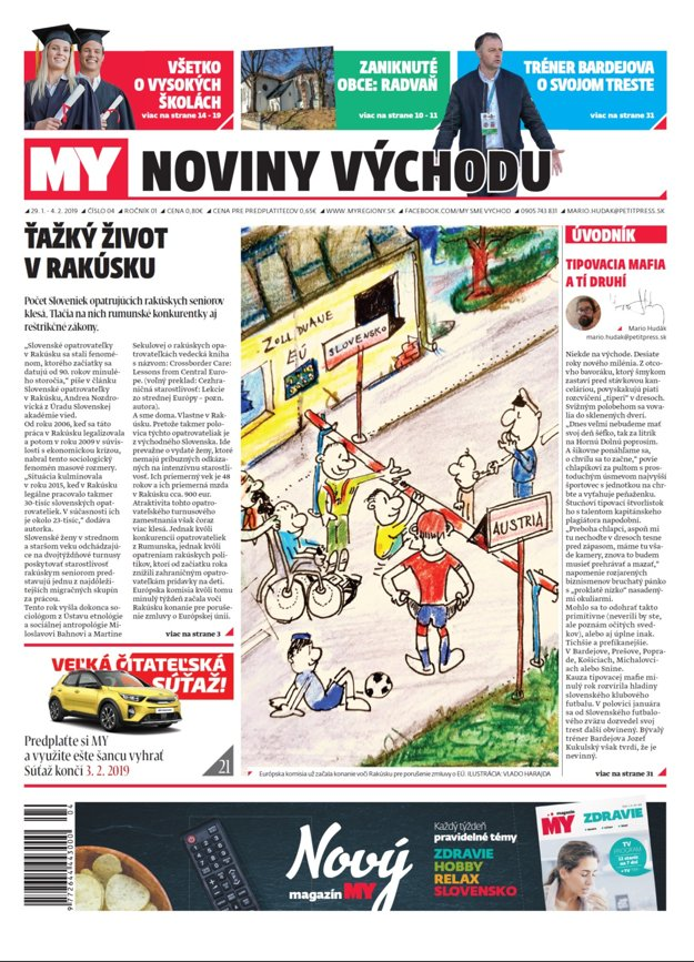 Titulka týždenníka MY Noviny východu č.4.