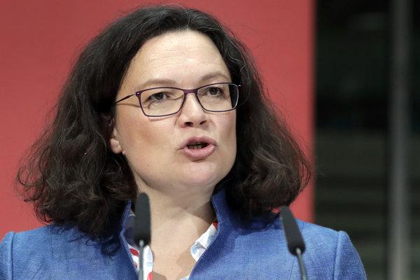 Predsedníčka koaličnej Sociálnodemokratickej strany Nemecka (SPD) Andrea Nahlesová.