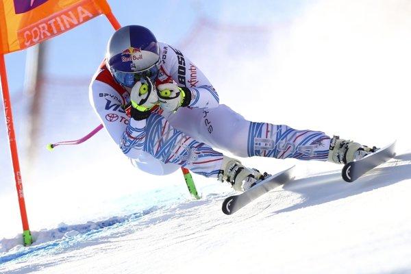 Americká lyžiarka Lindsey Vonnová na trati v zjazde žien Svetového pohára v alpskom lyžovaní v talianskom stredisku Cortina d'Ampezzo 18. januára 2019.