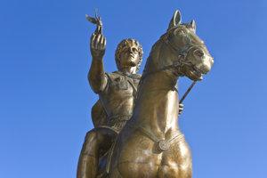 Socha Alexandra Veľkého v Pelle v Grécku.