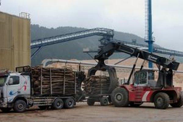 Ružomberské papierne sú obrovskou fabrikou. Drevo na výrobu papiera tam vozia na tony.