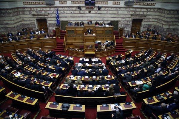 Zasadnutie gréckeho parlamentu.