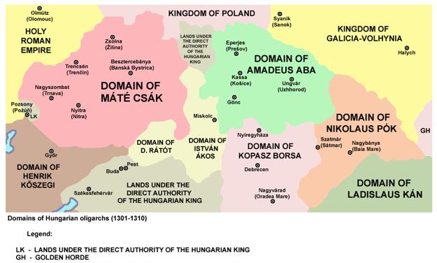 Oblasť, kde vládol Matúš Čák (dnes západné Slovensko amalé časti Maďarska).