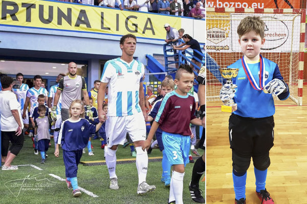 Miloš Šimončič drží za ruky dcéru Zaru a syna Filipa. Doma má ešte trojmesačného Mila. Vpravo Filip, Milošov najstarší potomok. Je člen tímu FC Nitra U9.