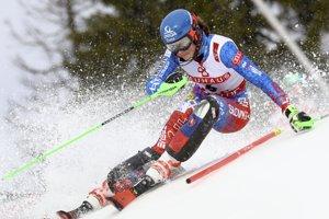 Petra Vlhová počas slalomu na MS v alpskom lyžovaní 2019.